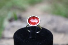 enamel sterling silver ring // red // special design