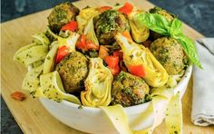 Pesto Pappardelle With Artichoke Chickpea Meatballs [Vegan] | One Green Planet