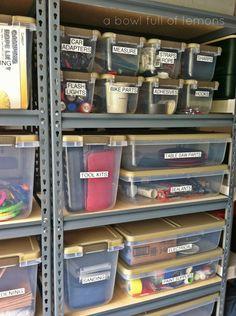Organized garage using well measured labelled clear bins. Organized garage using well measured labelled clear bins. Storage Shed Organization, Garage Organisation, Storage Hacks, Organized Garage, How To Organize Garage, Workshop Organization, Storage Ideas For Garage, Garage Storage Shelves, Cabinet Storage
