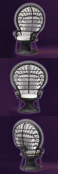 Black Wicker Peacock Chair. Intricately handwoven by skilled artisans in Indonesia, our shapely black rattan chair makes a grand statement with an extra-high back. Finished in black, it includes an ivory cushion for enhanced comfort.  Addams Family Black Tie Halloween Affaire, All Gothic Ghouls Invited.  Halloween party decorations, costumes & food ideas.