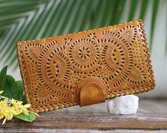 Women's leather Wallet Wallet Purse Boho leather wallet
