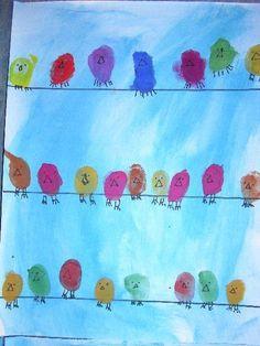Vögel aus FIngerabdrücken