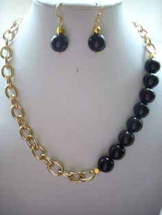 Dark Chocolate Brown Acrylic and Gold Bead by DesignsbyPattiLynn, $55.00