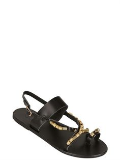 31c8489a116f ANCIENT GREEK SANDALS - BEADED LEATHER SANDALS FOR MARIO SCHWAB -  LUISAVIAROMA - LUXURY SHOPPING WORLDWIDE