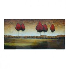 "Crestview Red Trees in the Distance Oil Painting - 30"" x 60"" - CVBWF026"