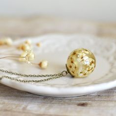 flower sphere necklace bridal wreath blossom  by EightAcorns