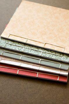 The first set of Japanese stab bound books I made. Handmade Notebook, Handmade Journals, Handmade Bags, Handmade Bracelets, Handmade Headbands, Handmade Crafts, Japanese Stab Binding, Homemade Books, Bookbinding Tutorial