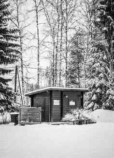 Sauna in winter wonderland
