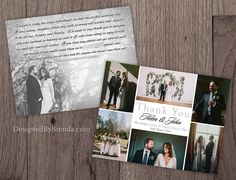 """These are 4.2"""" x 5.5"""" wedding thank you postcards. They can hold 6 to 7 of your wedding photos, with a very clean and modern look."""