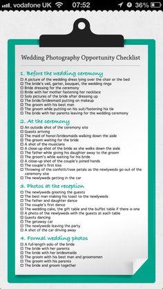 Wedding Photos List