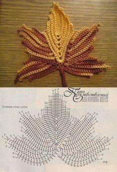 Resultado de imagen para irish crochet maple leaf on black background Irish Crochet Patterns, Crochet Motifs, Crochet Diagram, Freeform Crochet, Crochet Designs, Crochet Stitches, Crochet Leaves, Crochet Fall, Knitted Flowers