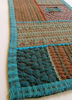 Victoria Gutenbach blog. would make a beautiful quilt sewn as big blocks and then quilted with simple embroidery