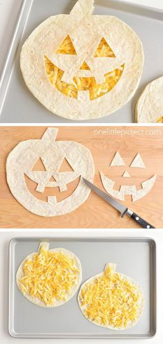 These super easy jack-o-lantern cheese quesadillas are SO FUN and so simple to make! They're such a fun Halloween food idea and would be great as a Halloween dinner! Not to mention they're fantastic for picky eaters! My kids love them! Comida De Halloween Ideas, Halloween Snacks For Kids, Fete Halloween, Halloween Food For Party, Halloween Activities, Holidays Halloween, Halloween Decorations, Halloween College, Halloween Office