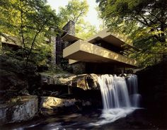 Falling Water, Pennsylvania. Frank Lloyd Wright design for Edgar Kaufmann. It is a lovely place for those who admire design and architecture to visit.