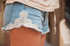 would be cute on longer shorts too or old jean bottoms.