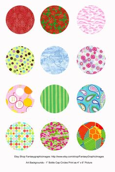 "Free Printable Collage Sheets: Free Bottle Cap - 1"" Circle Collage Sheets"