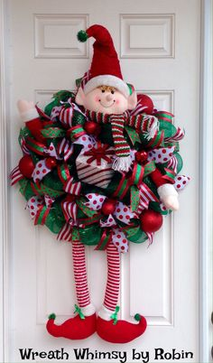 Huge Christmas Elf Deco Mesh Wreath by WreathWhimsybyRobin on Etsy