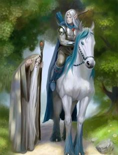 Wizard and an Elf on a white horse Fantasy World, Dark Fantasy, Fantasy Art, Mists Of Avalon, An Elf, Epic Art, Illustrations, Rogues, Faeries