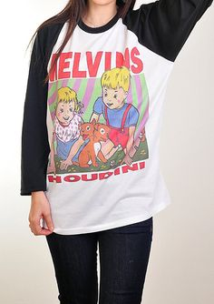 Melvins ** Buzz Osborne *** Houdini *** Punk Rock and Roll ** Baseball Jersey  Raglan Tee **  Retro Vintage ** S M L ***  New With Tag