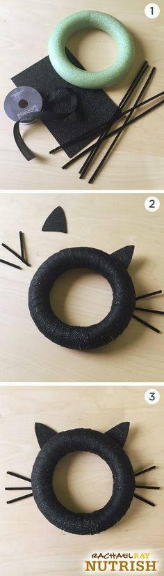 The purrfect Halloween décor for your front door or spooky tree. This black cat wreath is super simple to make. All you need is a foam circle, glitter foam, pipe cleaners and ribbon. Start by wrapping the ribbon around the foam circle until completely covered and glue the ends in place. Add the rest of the cat face with your glitter foam & pipe cleaners!