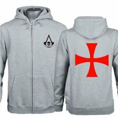 Xcoser Assassin's Creed Jacket Men Grey Zipped Hoodie Coat Clothing Black Flag Cosplay Costume in Size S Assassins Creed Black Flag, Cross Patterns, Red Cross, Zip Hoodie, Cosplay Costumes, Adidas Jacket, Zip Ups, Assassin's Creed, Hoodies