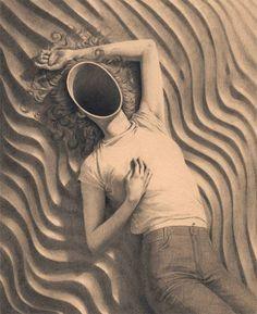 "London-based illustrator Miles Johnston uses graphite pencils to create surreal portraits of girls.  ""Entitled"