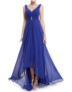 Vestido Largo Azul Corto Por Delante High Low, Prom, Dresses, Fashion, Blue Long Dresses, Long Dresses For Wedding, Blue Nails, Weddings, Senior Prom