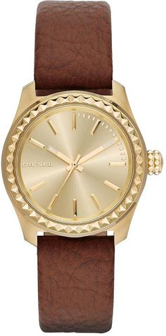 Diesel Kray Kray 38 Gold Face Brown Leather Strap Ladies Watch