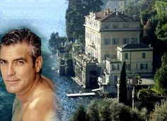 Casa de Clooney - Villa Oleandra, Italy : In actor George Clooney purchased a palatial home in northern Italy. 'Villa Oleandra' is located on Lake Como, in Laglio, a hamlet of about 900 residents. OMG I WANT TO LIVE THERE! Celebrity Mansions, Celebrity Houses, George Clooney House, Lake Como Villas, Grove Park Inn, Italian Lakes, Living In Italy, Mediterranean Homes, Northern Italy