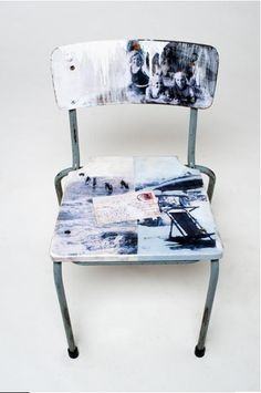 Collage Chair via http://tinyurl.com/cfoj4ok  Inspiration from a collective out of South Africa.  Get the tutorial at evolutionconsulting.co.za.