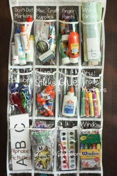 Office/School supplies with an over-the door shoe organizer.