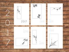 2017 Calendar, Minimal Art, Plants, Geometric, Modern Art