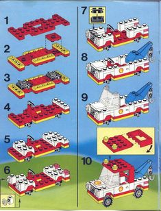 Thousands of complete step-by-step printable older LEGO® instructions for free. Here you can find step by step instructions for most LEGO® sets. Old Lego Sets, Lego City Sets, Lego Building Blocks, Lego Blocks, Lego Moc, Lego Duplo, Jurassic World, Legos, Fall Guy Truck