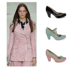 Pink tailleur with pink and black stripped shirt from the #Chanelspring2015 collection. Combine it with tha #Cristofolishoes. From the top: black shiny pumps (July) with white line, aqua pumps (July) and pink shoes with aqua ribbon (Emily).