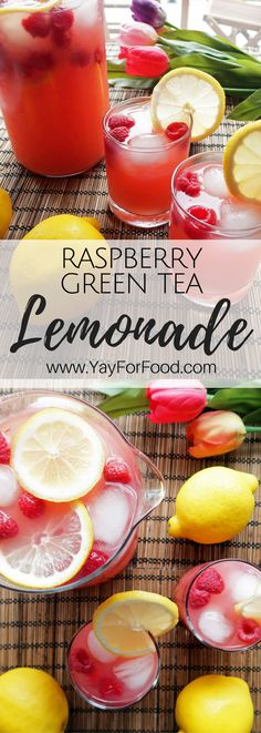 Raspberry Lemonade Green Tea - truly refreshing summer drink! This quick homemade lemonade is combined with raspberries and green tea to give it a wonderful sweet and tart flavour! vegan | gluten-free | beverage | non-alcoholic