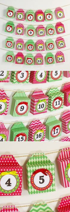 Free to download and print Christmas holiday Advent Calendar gift box garland decoration in red and green.