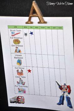Toddler Chore Chart // Honey We're Home