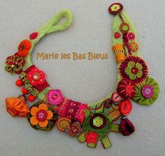 necklace, felting, Marie les Bas Bleus