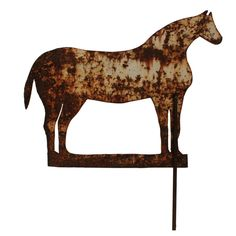 19th Century Graphic Painted Sheet Metal Horse Silhouette Weathervane