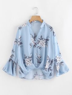 SheIn offers Flower Print Gathered Pleated Front Blouse & more to fit your fashionable needs. Girls Fashion Clothes, Teen Fashion Outfits, Hijab Fashion, Girl Fashion, Casual Outfits, Fashion Dresses, Blouse Styles, Blouse Designs, Hijab Stile
