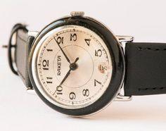 Vintage wrist watch Raketa men's watch silver shiny by SovietEra, $64.00
