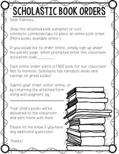 Scholastic Book Club Cover Letter Free  Tpt Free Lessons