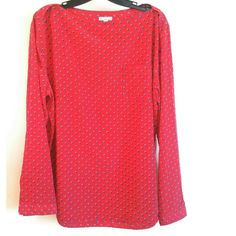 Gap Red Envelope Neck Top with Polkadots XL This Gap Red Envelope Neck Top with Polkadots is a size XL in great used condition. This listing is for the red top. (Model shot is from gap.com.) Bust measures 23.5 inches across laying flat, measured from pit to pit. No stretch. 27 inches long. 100% polyester. One chest pocket. Buttons at cuff so you can unbutton and roll up your sleeves. ::: Bundle 3+ items from my closet and save 30% off when you use the app's Bundle feature! ::: No trades. GAP…