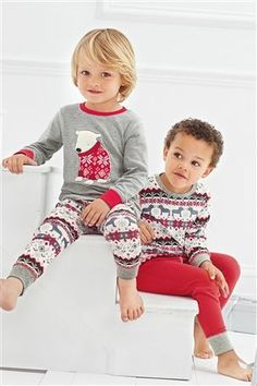 Two Pack Polar Bear Fairisle Pattern Snuggle Pyjamas (9mths-8yrs)