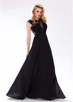 Buy discount Chic Chiffon & Tulle Jewel Neckline A-line Evening Dress with Beaded Lace Appliques at Dressilyme.com