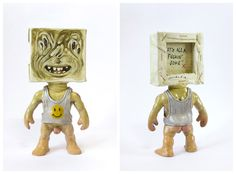 """Johnny Paint me Motherfucker """"It's all a fuckin' joke"""" customized by Emilio Subirá (unique art piece) Poliurethane + polimer clay 17cms tall toy sculpture. Hand painted and barnish by the artist at his studio in Seville, Spain. Is one of a kind. signed and dated. (SOLD / VENDIDO)"""