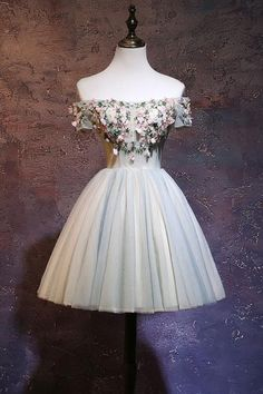 Cute tulle off shoulder short prom dress, homecoming dress - us:8