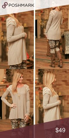 ·Beige Lace Sweater Tunic· This pretty lace thermal tunic with lace embellishment on the shoulders is a must have for the cold months ahead! Check out my closet for leggings or other items to pair this with. Infinity Raine Tops Tunics