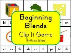 Beginning Blends and Digraphs Clip It Game - Robin Sellers - TeachersPayTeachers.com
