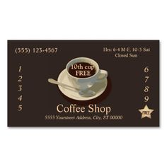 29 best Coffee Shop Loyalty Card Templates images on Pinterest     Coffee Loyalty Punch Card Business Card
